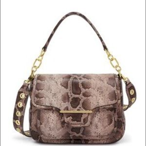 Henri Bendel Hasp Snakeskin Convertible Handbag
